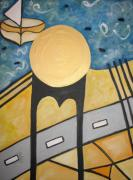 Brooklyn Bridge Painting Originals - Under Brooklyn bridge NY by Krisztina Asztalos