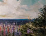 Lupines Paintings - Under Full Sail by John  Williams