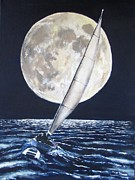 Sea Moon Full Moon Paintings - Under Full Sail..Under Full Moon by Jack Skinner