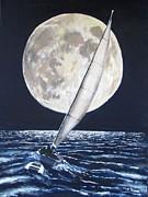 Under Full Sail..under Full Moon Print by Jack Skinner