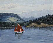 San Juan Paintings - Under Sail in the San Juans by Alan Mager