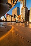 Cloud Gate Posters - Under the bean and Chicago skyline at sunrise Poster by Sven Brogren