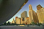 Millennium Park Prints - Under the Bean and Chicago skyline Print by Sven Brogren