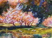 Therese Fowler-bailey Metal Prints - Under the Blossom Trees SOLD Metal Print by Therese Fowler-Bailey