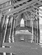 Surf Art Posters - Under the Boardwalk BW Poster by Suzanne Gaff