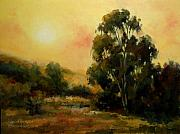 Eucalyptus Paintings - Under the California Sun California tonalist landscape by Karen Winters