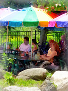 Cafes Art - Under the Colorful Umbrellas by Susan Savad