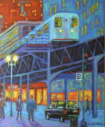 Chicago At Night Paintings - Under the El Tracks by J Loren Reedy