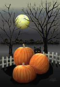 Halloween Card Prints - Under The Full Moon Print by Arline Wagner