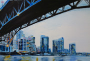 Yupo Paper Framed Prints - Under the Granville Bridge Framed Print by Sandrine Pelissier