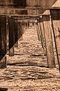 Jacksonville Digital Art Prints - Under the Jacksonville Bridge in Sepia Print by Frank Feliciano