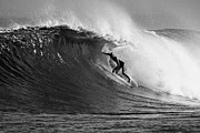 Kelly Slater Photos - Under the Lip in Black and White by Paul Topp