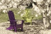 Chair Posters - Under The Magnolia Tree Poster by Tom Mc Nemar
