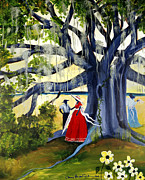 Gullah Art Posters - Under The Mossy Oak Poster by Diane Britton Dunham