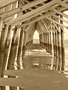 Seashore Digital Art Metal Prints - Under the Pier - Sunset Beach in sepia Metal Print by Suzanne Gaff