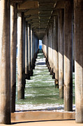 Below Framed Prints - Under the Pier in Orange County California Framed Print by Paul Velgos