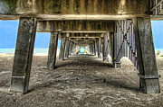 Tybee Island Pier Prints - Under the Pier on Tybee Island Print by Tammy Wetzel