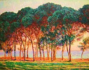 Giverny Prints - Under The Pines Evening Print by Pg Reproductions