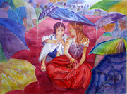 Raining Paintings - Under The Rain by Estela Robles