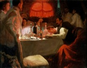 Russia Paintings - Under the Red Light by Lukjan Vasilievich Popov