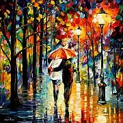 Afremov Posters - Under The Red Umbrella Poster by Leonid Afremov