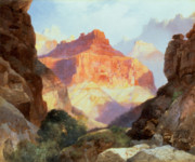 Western Usa Painting Posters - Under the Red Wall Poster by Thomas Moran