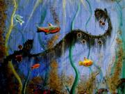 Fish Underwater Painting Originals - Under The Sea by Carrie Jackson