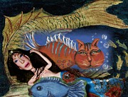 Catfish Mixed Media - Under The Sea by Cathi Doherty