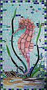 Ocean  Glass Art Originals - Under The Sea Horse by Marie Groves