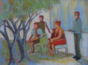 Street Scene Pastels - Under the Tree by LaDonna Kruger