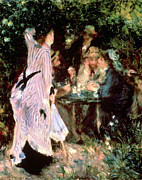 Standing Painting Framed Prints - Under the Trees of the Moulin de la Galette Framed Print by Pierre Auguste Renoir