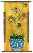 Vase Of Flowers Posters - Under the Tuscan Sunflowers Poster by Gypsy McKinna