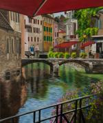 Village In Europe Posters - Under the Umbrella in Annecy Poster by Charlotte Blanchard