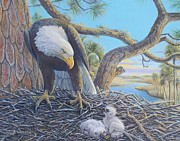 American Eagle Paintings - Under Thy Wings by Susan A Walton