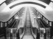 Stairway To Heaven Framed Prints - Underground Escalator Framed Print by Archive Photos
