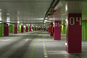 Parking Lot Framed Prints - Underground parking lot Framed Print by Gaspar Avila