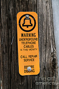 Underground Telephone Cable Sign Print by Photo Researchers