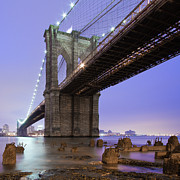 Square Tapestries Textiles - Underneath Brooklyn Bridge by Ryan D. Budhu