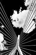 Boston Photo Metal Prints - Underneath the Zakim Metal Print by Andrew Kubica