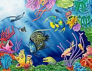 Coral Reef Posters - Undersea Garden Poster by Gale Cochran-Smith