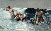 White Blue Framed Prints - Undertow Framed Print by Winslow Homer