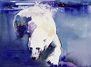 Paws Prints - Underwater Bear Print by Mark Adlington