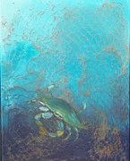 Netting Painting Posters - Underwater Blue Crab Poster by Lynda McDonald