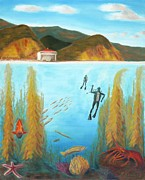 Kelp Paintings - Underwater Catalina by Nicolas Nomicos