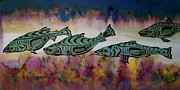 Salmon Tapestries - Textiles - Underwater Color by Carolyn Doe