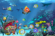 School Of Fish Digital Art - Underwater Fantasy by Doug Kreuger
