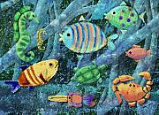 Sea Creatures Framed Prints - Underwater Maze Framed Print by Arline Wagner