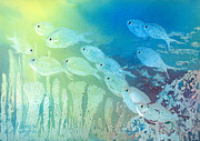 Creature Painting Prints - Underwater School Print by Arline Wagner
