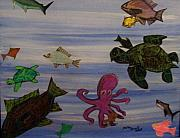 Sharks Pastels - Underwater sea creatures by Merlin Strivelli