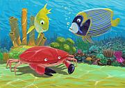 Kids Room Art Digital Art Prints - Underwater Sea Friends Print by Martin Davey